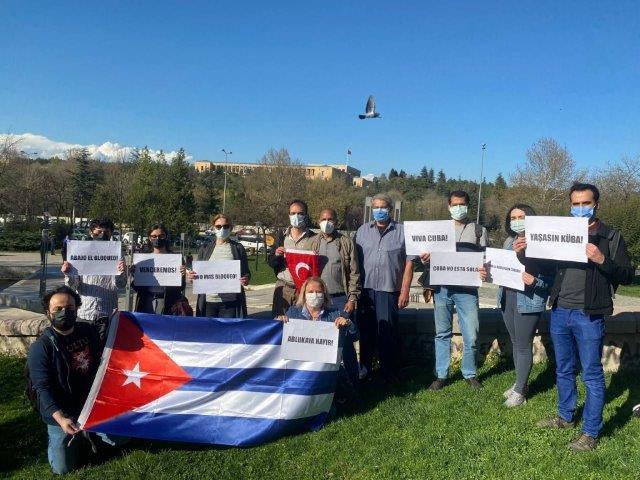 Manifestación contra el bloqueo en Ánkara, Turquía